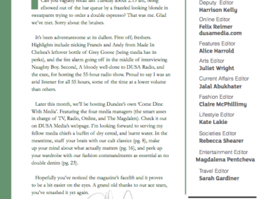 The Magdalen Editor's Letter